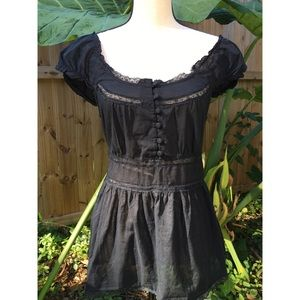 Sexy, Boho Black Lace Mini Dress, Off the Shoulder